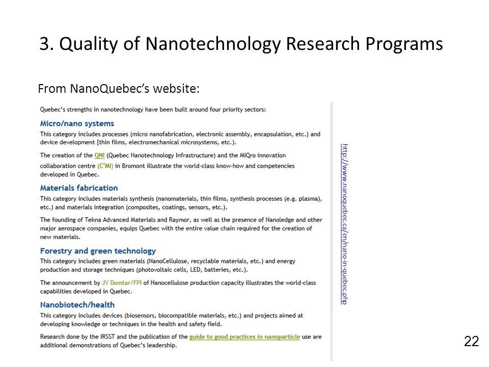 3. Quality of Nanotechnology Research Programs