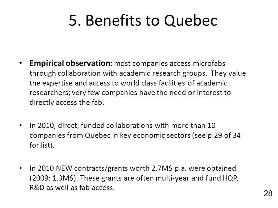 5. Benefits to Quebec