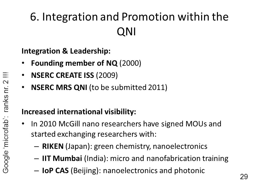6. Integration and Promotion within the QNI