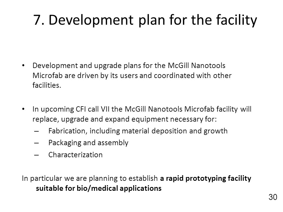 7. Development plan for the facility