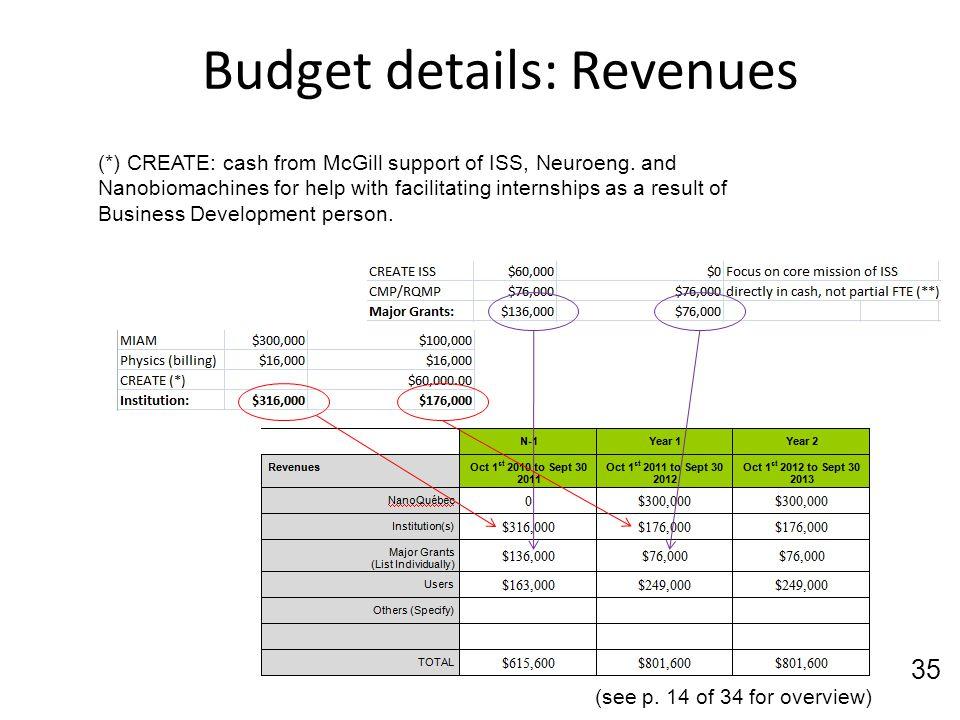 Budget details: Revenues