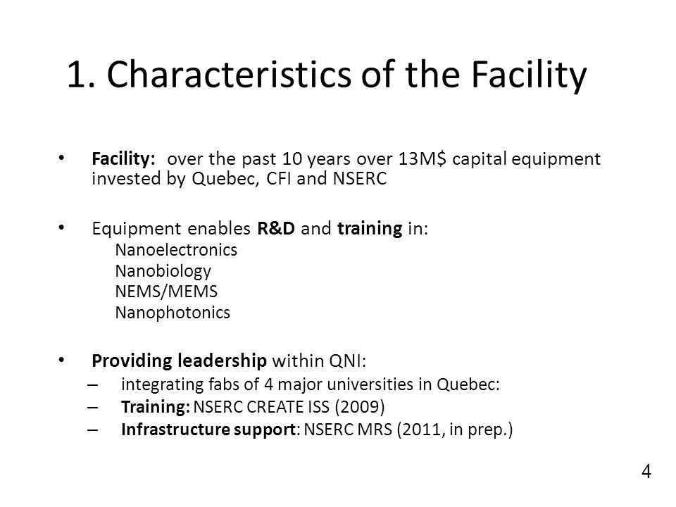 1. Characteristics of the Facility