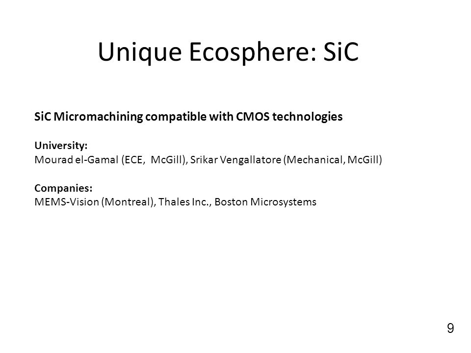 Unique Ecosphere: SiC SiC Micromachining compatible with CMOS technologies. University: