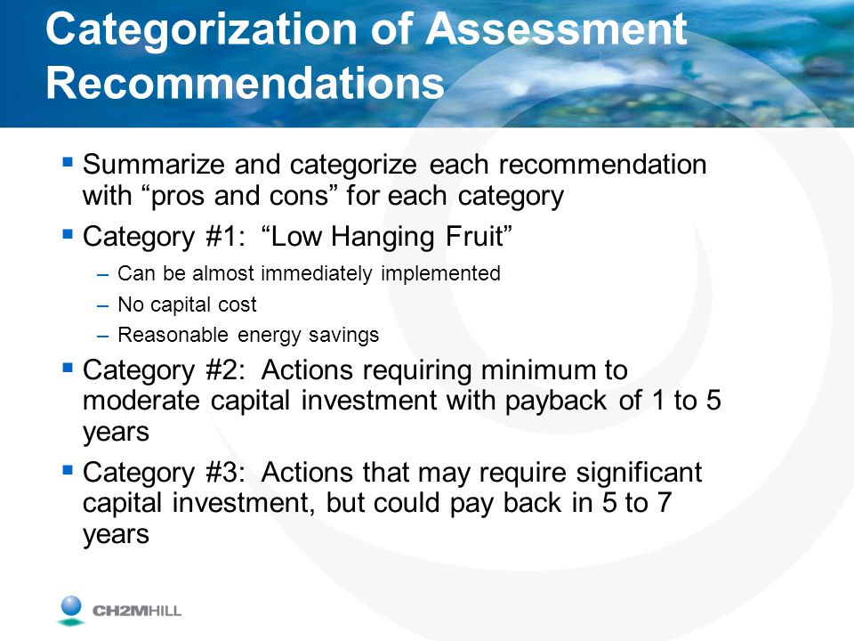 Categorization of Assessment Recommendations