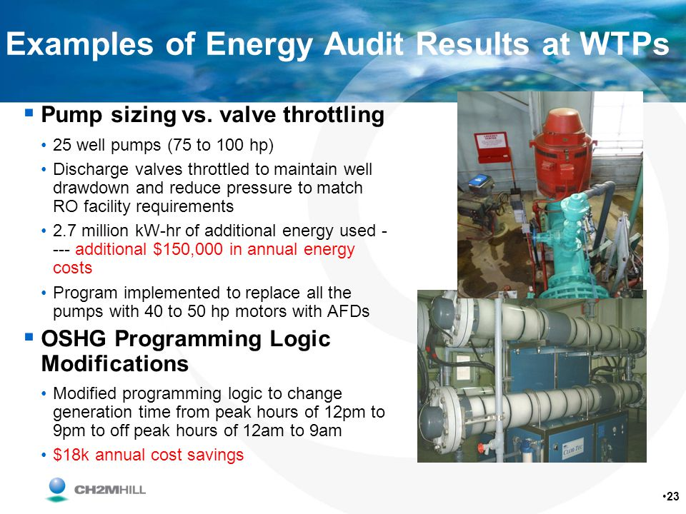 Examples of Energy Audit Results at WTPs