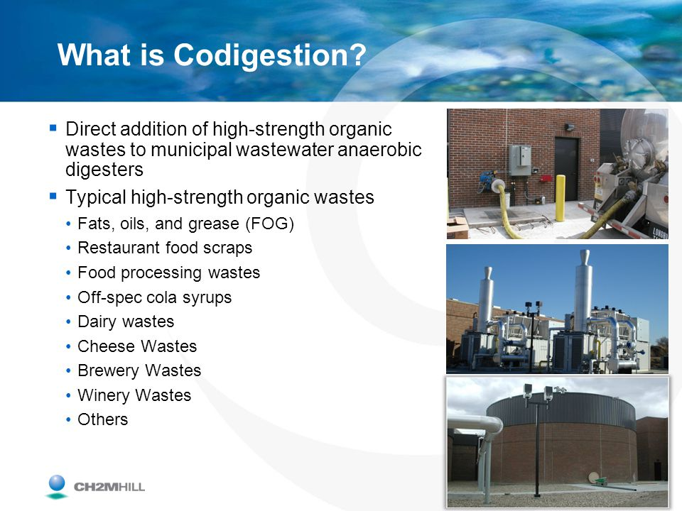 What is Codigestion Direct addition of high-strength organic wastes to municipal wastewater anaerobic digesters.
