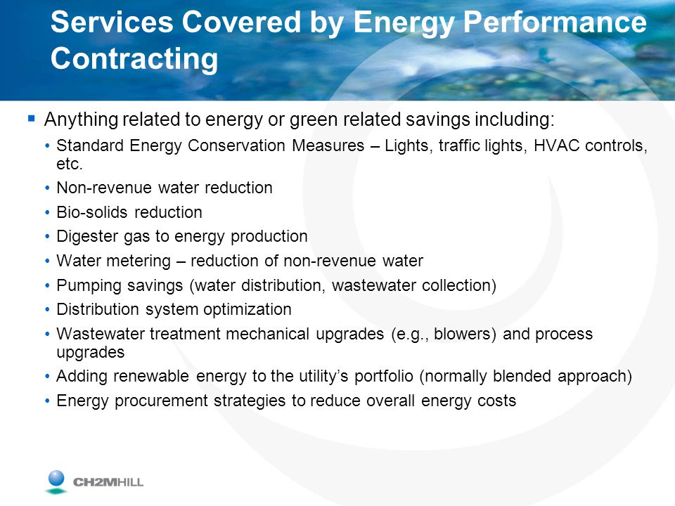 Services Covered by Energy Performance Contracting