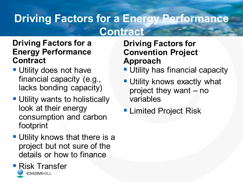 Driving Factors for a Energy Performance Contract