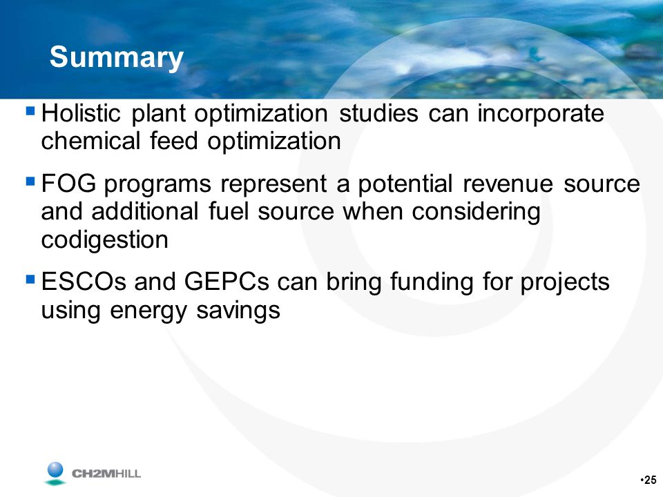 Summary Holistic plant optimization studies can incorporate chemical feed optimization.