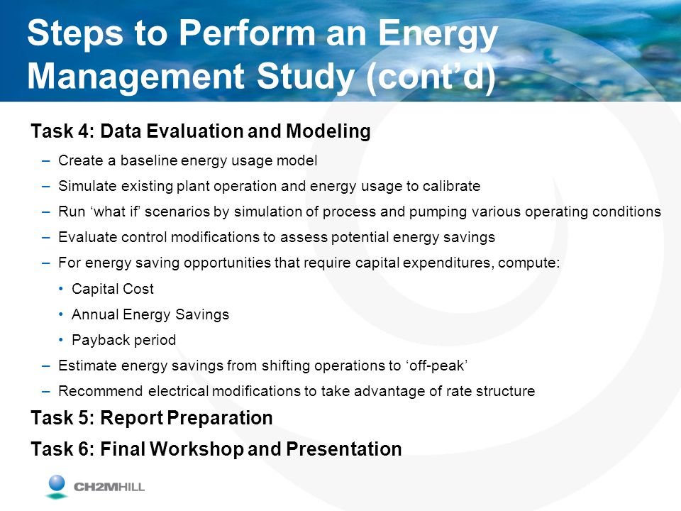Steps to Perform an Energy Management Study (cont'd)