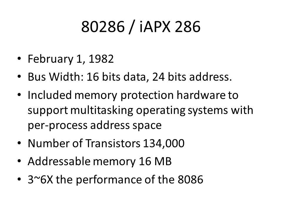 80286 / iAPX 286 February 1, 1982. Bus Width: 16 bits data, 24 bits address.