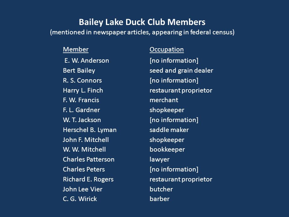 Bailey Lake Duck Club Members