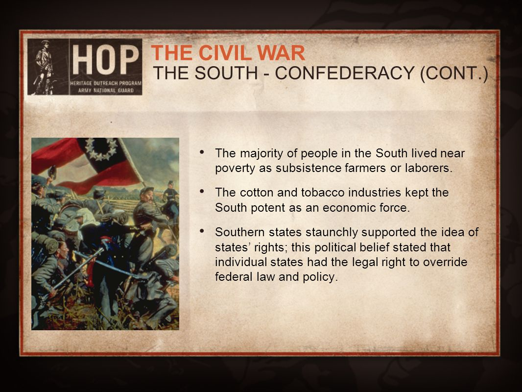 THE SOUTH - CONFEDERACY (CONT.)