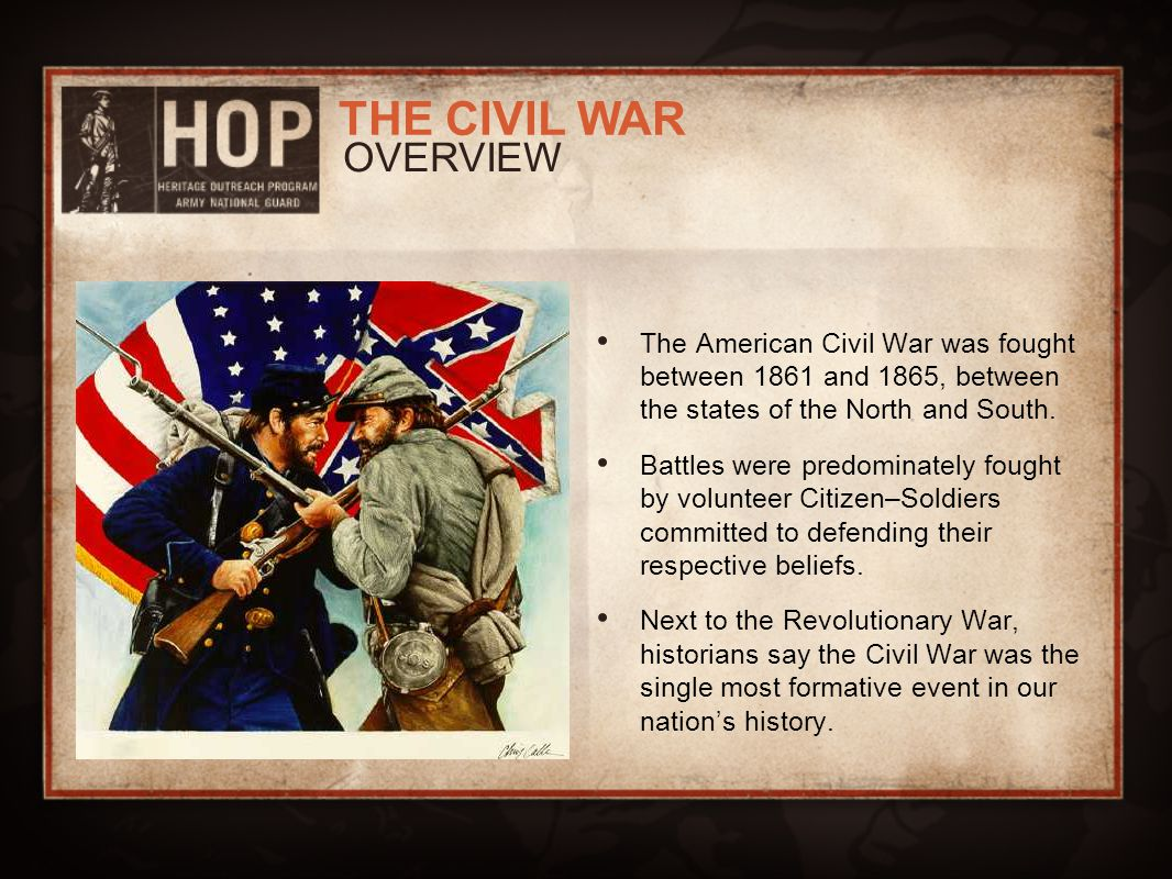 an overview of the events from the civil war in america In answer to it the civil war developes,  america's role in world war ii after america had come over the great depression, it concentrated on the world war ii.