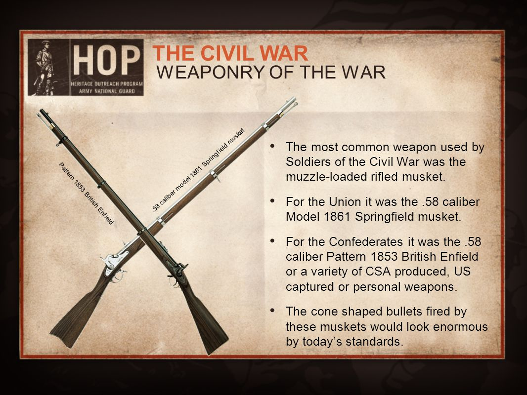 WEAPONRY OF THE WAR .58 caliber model 1861 Springfield musket.