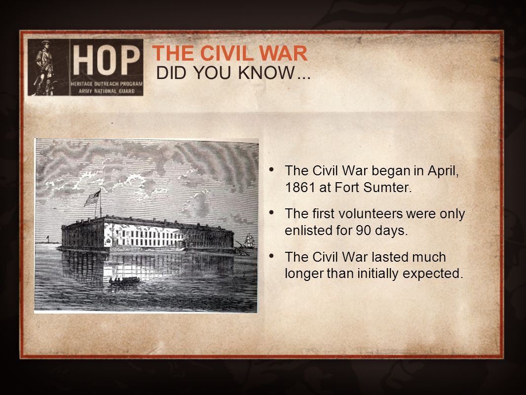 DID YOU KNOW... The Civil War began in April, 1861 at Fort Sumter.