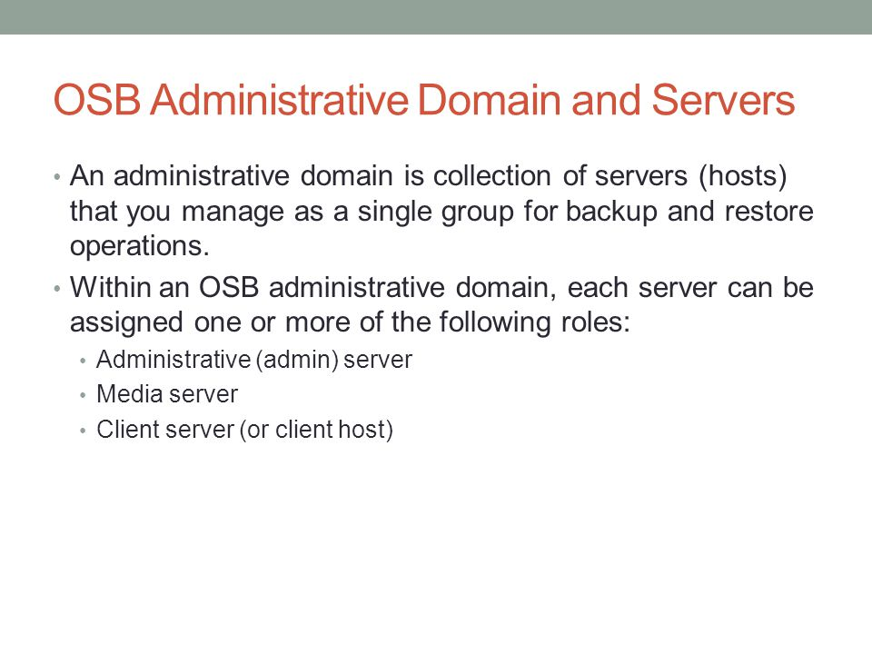 OSB Administrative Domain and Servers