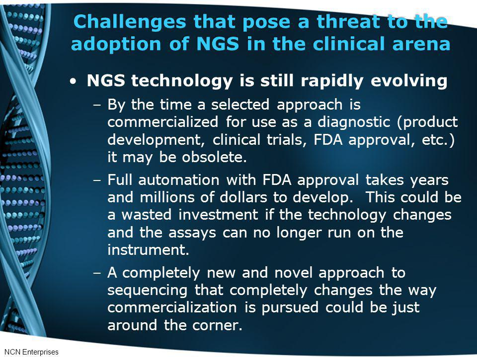 Challenges that pose a threat to the adoption of NGS in the clinical arena