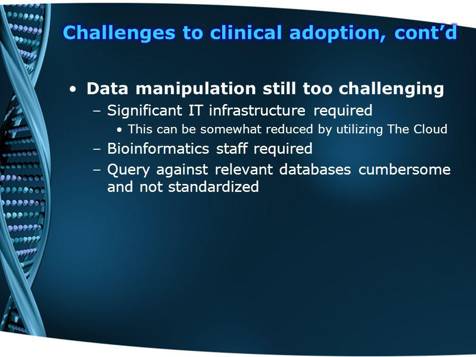 Challenges to clinical adoption, cont'd