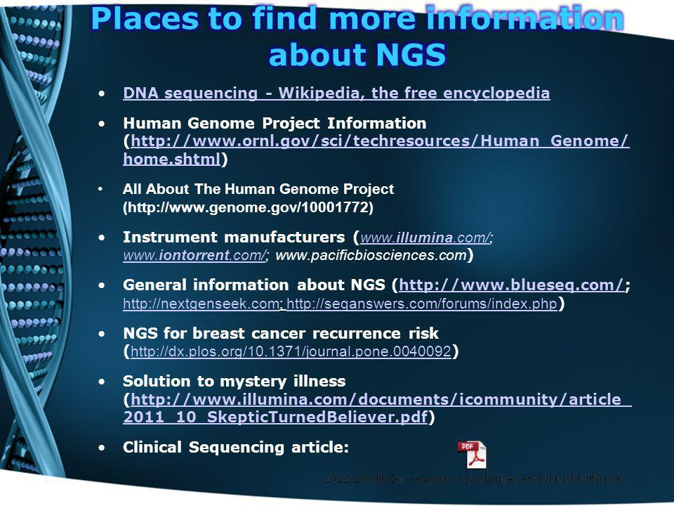Places to find more information about NGS