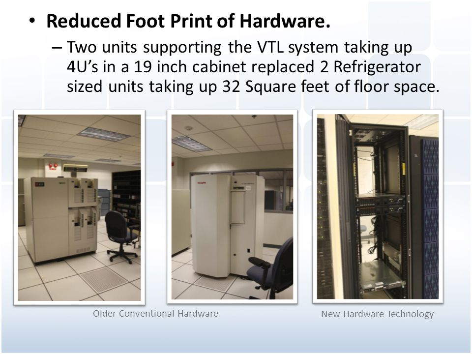 Reduced Foot Print of Hardware.