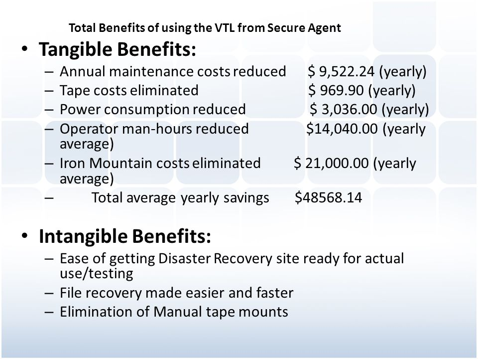 Tangible Benefits: Intangible Benefits: