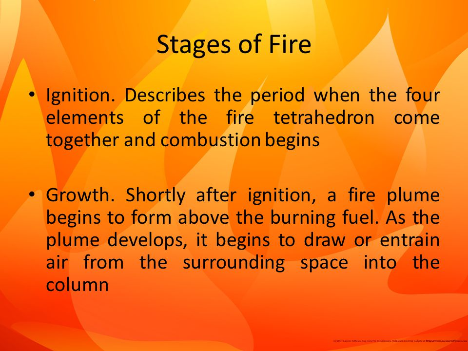 Stages of Fire Ignition. Describes the period when the four elements of the fire tetrahedron come together and combustion begins.