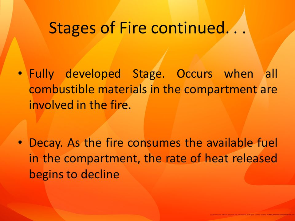 Stages of Fire continued. . .