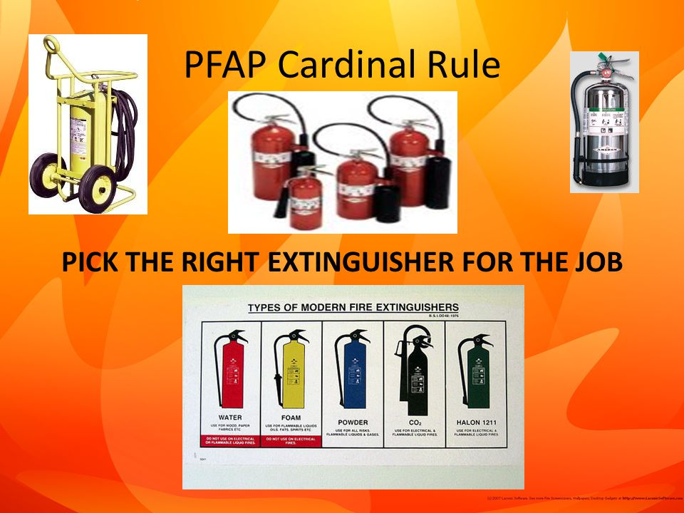 PICK THE RIGHT EXTINGUISHER FOR THE JOB