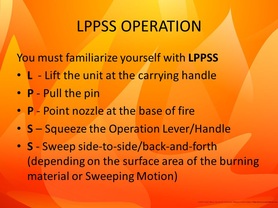 LPPSS OPERATION You must familiarize yourself with LPPSS