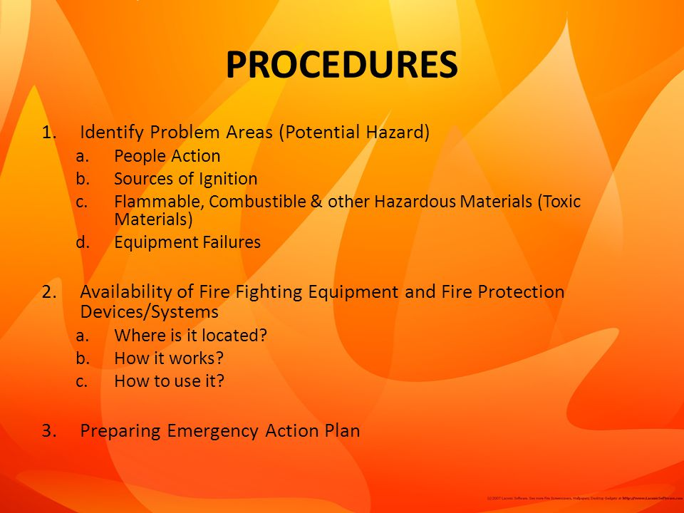 PROCEDURES Identify Problem Areas (Potential Hazard)