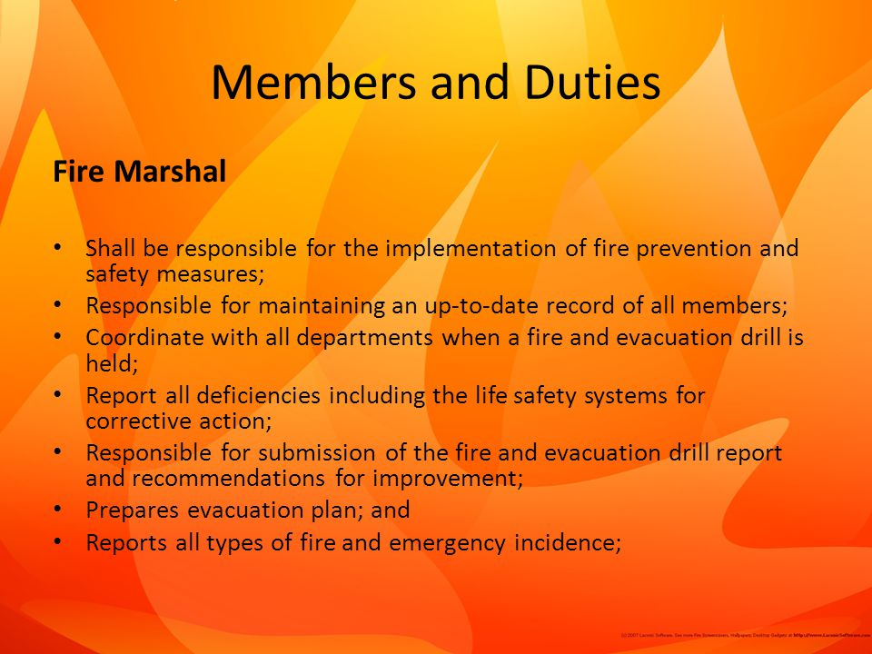 Members and Duties Fire Marshal