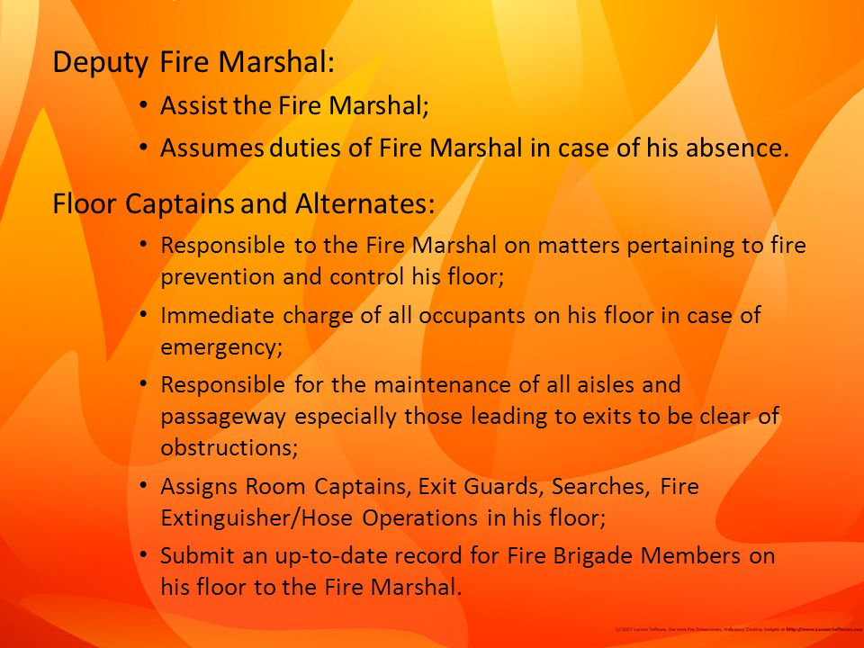 Deputy Fire Marshal: Floor Captains and Alternates: