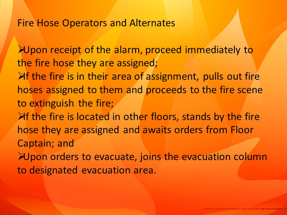 Fire Hose Operators and Alternates
