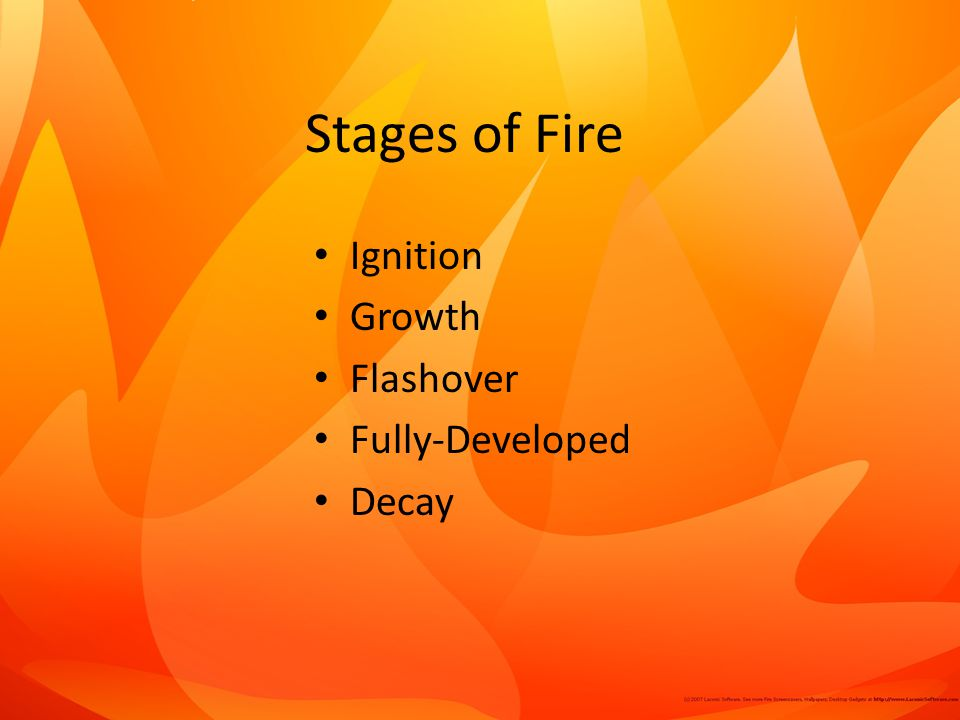 Stages of Fire Ignition Growth Flashover Fully-Developed Decay