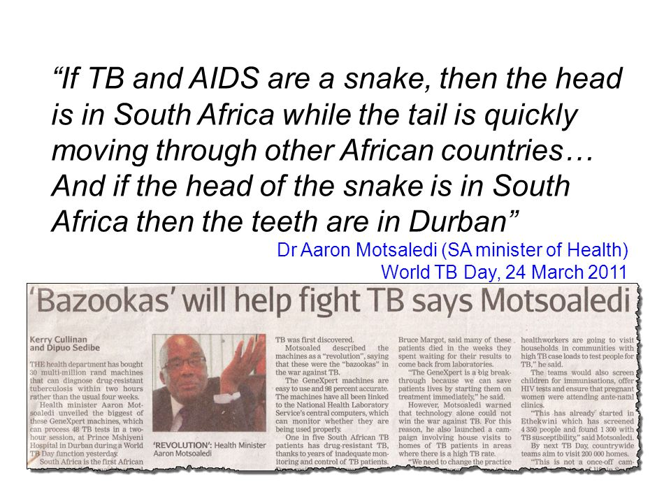 1 in 100 South Africans have TB