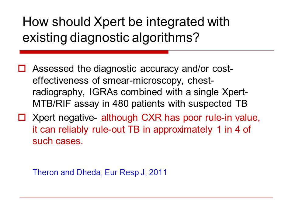 How should Xpert be integrated with existing diagnostic algorithms