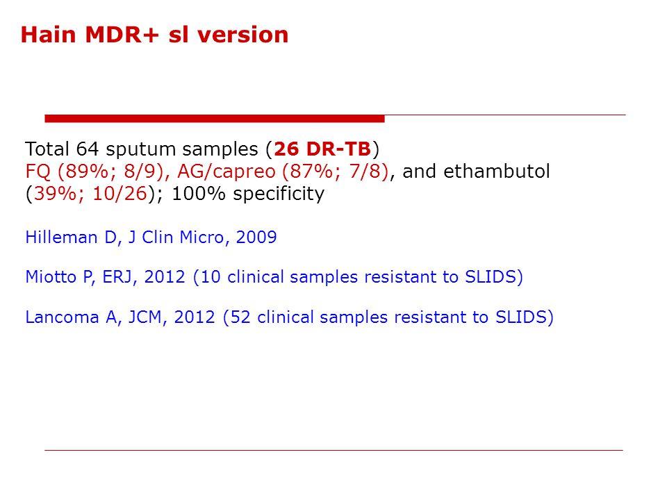 Hain MDR+ sl version Total 64 sputum samples (26 DR-TB)