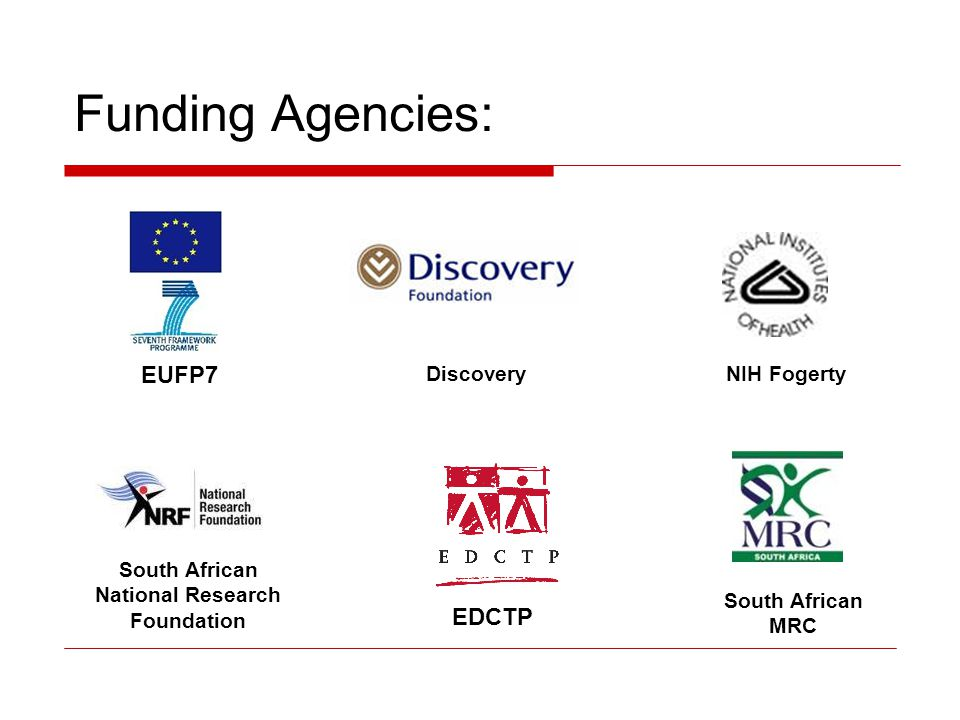 Funding Agencies: EUFP7 EDCTP Discovery NIH Fogerty South African