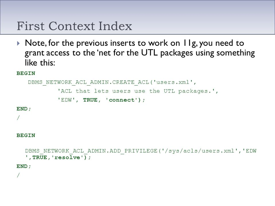 First Context Index