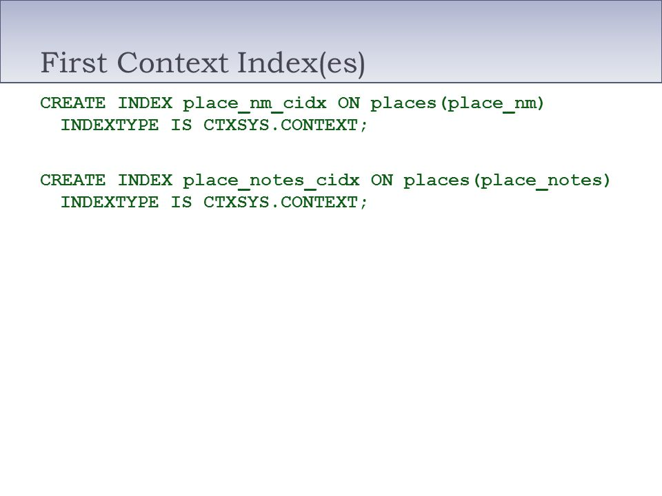 First Context Index(es)