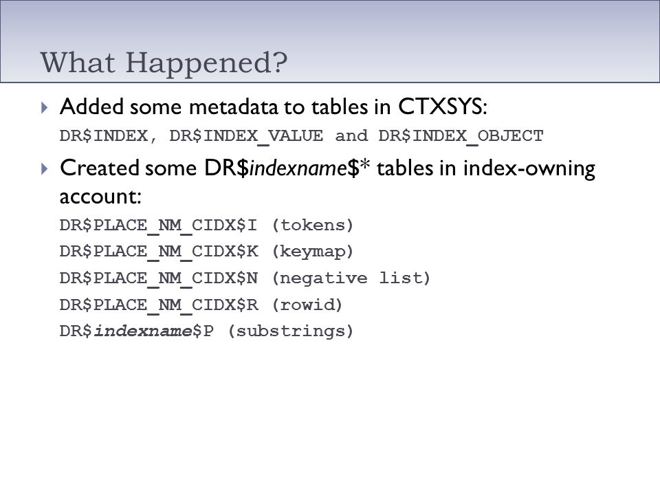 What Happened Added some metadata to tables in CTXSYS: