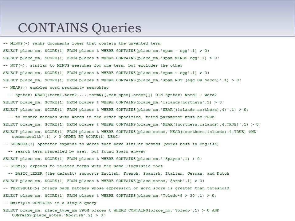 CONTAINS Queries