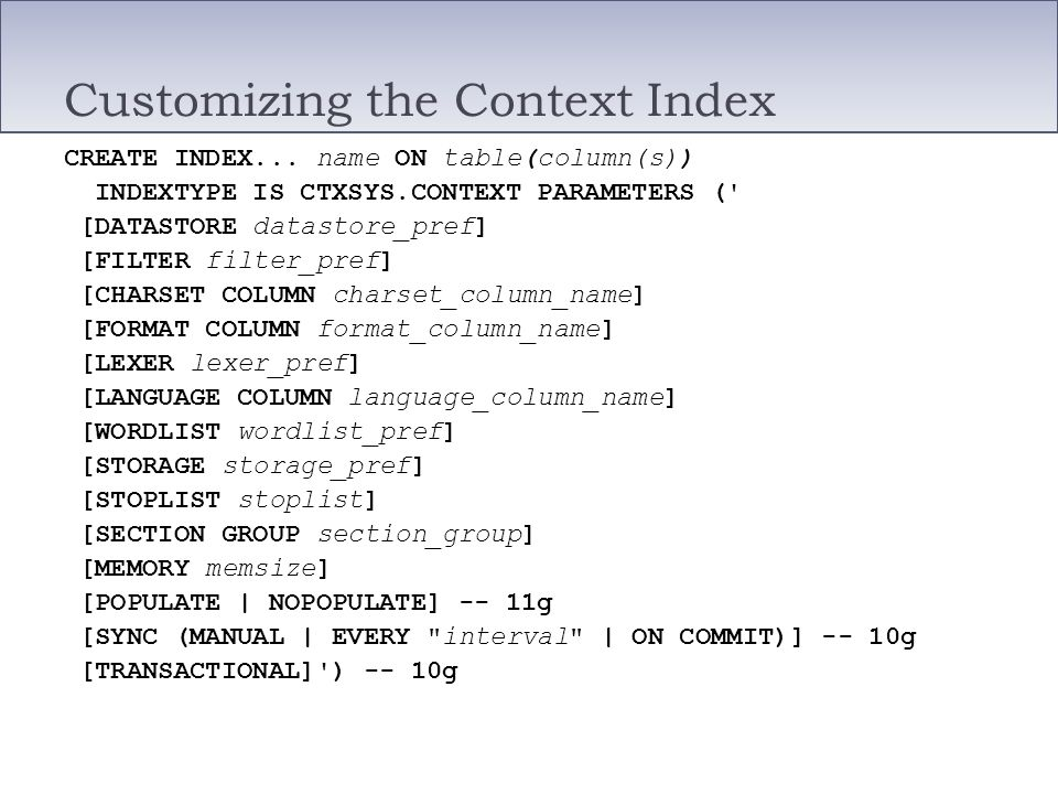 Customizing the Context Index
