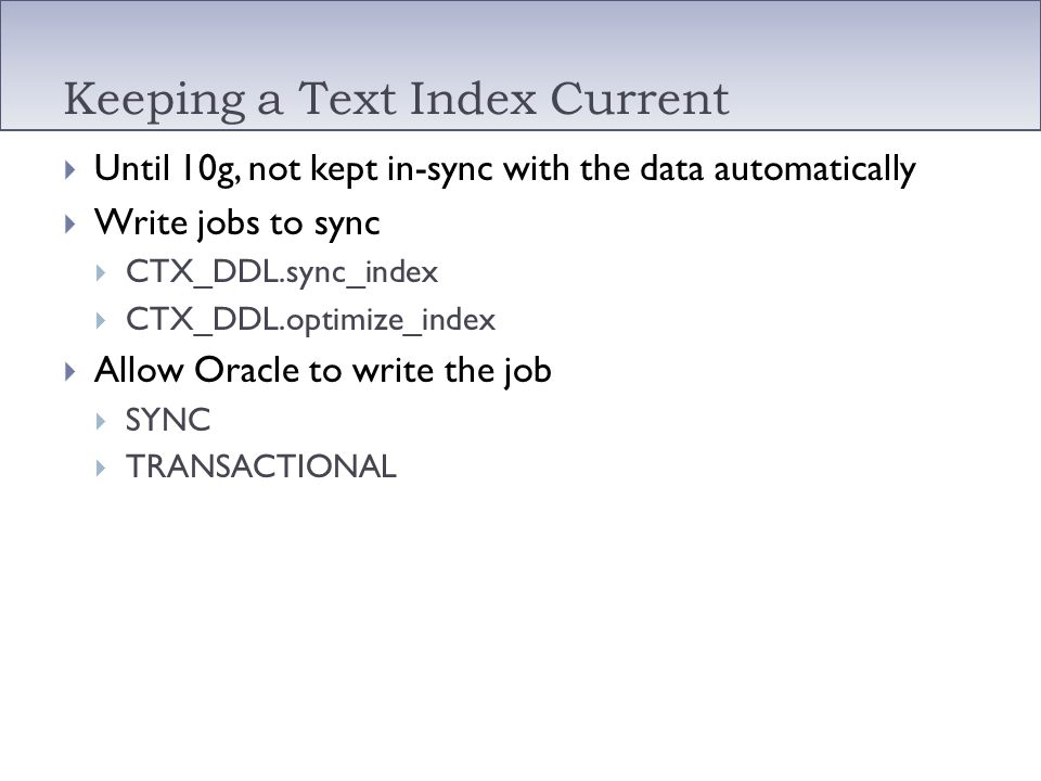 Keeping a Text Index Current