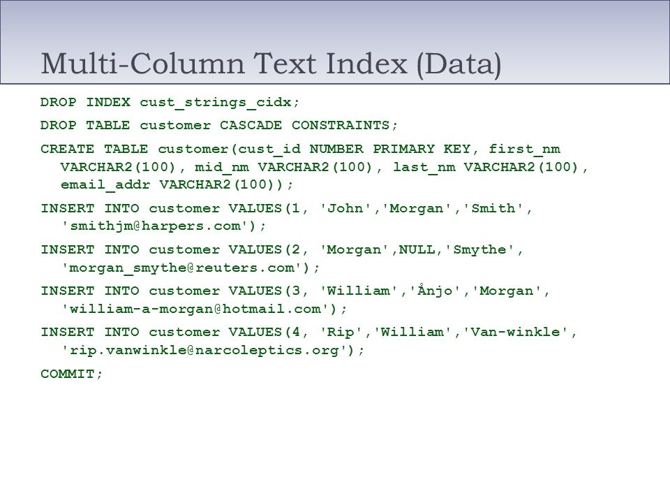 Multi-Column Text Index (Data)