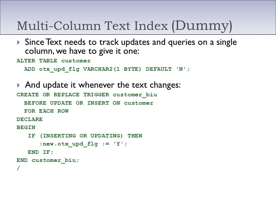 Multi-Column Text Index (Dummy)