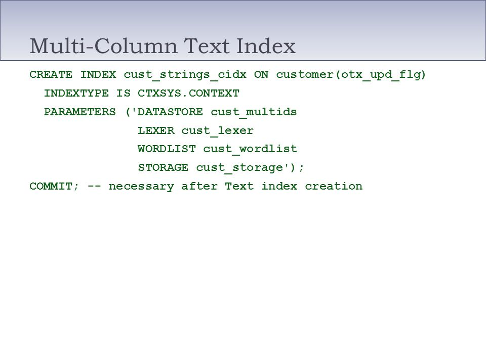 Multi-Column Text Index