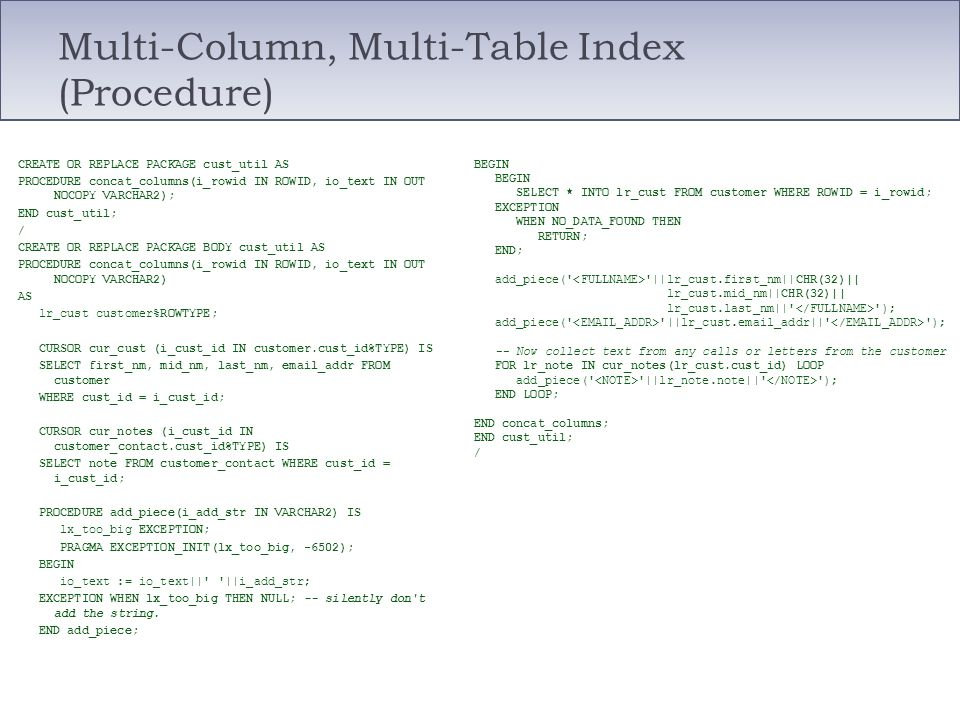 Multi-Column, Multi-Table Index (Procedure)