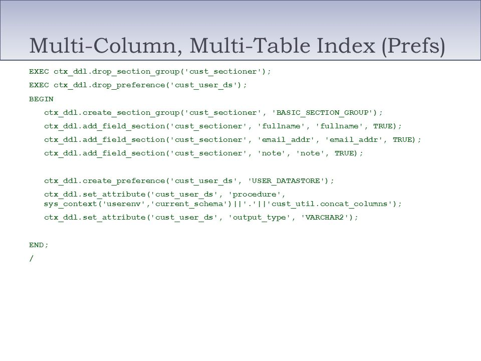 Multi-Column, Multi-Table Index (Prefs)
